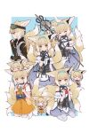 0_0 1girl :3 :d :o =_= alternate_costume animal_ears arknights backpack bag bare_shoulders black_collar black_gloves blonde_hair blue_background blue_dress border braid chibi chibi_on_head chinese_commentary closed_eyes collar commentary_request dress earpiece fingerless_gloves food fox_ears fox_girl fox_tail from_side fruit gloves goggles goggles_on_head green_eyes hair_tubes hairband headpat highres holding holding_food holding_fruit holding_staff id_card infection_monitor_(arknights) kitsune kyuubi looking_at_viewer lxjun_09 multicolored_hair multiple_tails multiple_views official_alternate_costume on_head open_mouth orange_dress orange_hairband oripathy_lesion_(arknights) pantyhose profile randoseru red_bag seiza short_hair simple_background sitting smile staff standing straight-on streaked_hair suzuran_(arknights) tactical_clothes tail thigh-highs too_much_fluff two-tone_dress vest white_border white_dress white_hair white_legwear