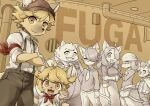 2girls 5boys absurdres ahoge armband blonde_hair boron_(senjou_no_fuuga) breasts collared_shirt commentary_request copyright_name cowboy_shot ears_through_headwear eyebrows_visible_through_hair fangs floppy_ears from_side furry glasses hanna_(senjou_no_fuuga) highres indoors jin_(senjou_no_fuuga) konazarame kyle_(senjou_no_fuuga) large_breasts long_hair long_skirt looking_at_viewer malt_(senjou_no_fuuga) mei_(senjou_no_fuuga) multiple_boys multiple_girls necktie open_mouth red_armband red_scarf scarf senjou_no_fuuga sepia sepia_background shirt short_hair shorts skirt small_breasts smile socks_(senjou_no_fuuga) suspender_shorts suspenders yellow_eyes