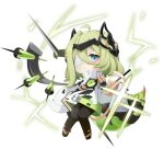 1girl :o bangs black_footwear boots character_request chibi cup drinking_straw eyepatch full_body green_eyes green_hair hair_between_eyes highres holding holding_cup honkai_(series) honkai_impact_3rd labcoat loli long_sleeves milk_tea monabianou open_mouth short_hair simple_background solo thigh-highs thigh_boots white_background