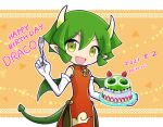 1girl blush cake character_name dated draco_centauros dragon_girl dragon_horns dragon_tail dragon_wings dress elbow_gloves eyebrows_visible_through_hair fang food fork gloves green_hair happy_birthday holding holding_fork holding_plate horns looking_at_viewer open_mouth plate puyopuyo red_dress short_hair smile solo tail takazaki_piko twitter_username white_gloves wings yellow_eyes