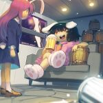 2girls :3 :d animal_ears beer_mug black_hair blue_jacket blue_skirt boa_(brianoa) brown_footwear buck_teeth carrot_necklace character_request closed_mouth couch crossed_legs cup dress fake_facial_hair fake_mustache foam_mustache highres inaba_tewi indoors jacket long_sleeves medium_hair miniskirt mug multiple_girls on_couch open_mouth paw_boots pink_dress rabbit_ears red_eyes shoes sitting skirt smile smug socks sweatdrop tankard teeth touhou twitter_username two-sided_fabric two-sided_skirt white_legwear window |_|