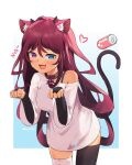 1girl animal_ears asymmetrical_legwear bridal_gauntlets can cat_ears cat_tail collar eyebrows_visible_through_hair heterochromia highres hololive irys_(hololive) kemonomimi_mode looking_at_viewer mismatched_legwear namii_(namialus_m) nyan open_mouth paw_pose shirt smile soda_can solo t-shirt tail thigh-highs white_shirt
