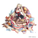 1girl :p arm_strap arm_under_breasts ash_arms black_gloves blonde_hair breast_hold breasts brown_legwear cake cream cream_on_face doughnut elbow_gloves eyebrows_visible_through_hair finger_to_mouth food food_on_face fw190_(ash_arms) garter_straps gloves hair_ribbon headgear high_heels highres iron_cross lekou licking licking_finger long_hair official_art pink_eyes ribbon shoe_dangle simple_background skirt solo thigh-highs tongue tongue_out twintails very_long_hair white_background