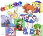 2boys 4girls arle_nadja blonde_hair blue_eyes blue_hair blush_stickers bracelet broom brown_eyes brown_hair carbuncle_(puyopuyo) china_dress chinese_clothes closed_mouth draco_centauros dragon_girl dragon_horns dragon_tail dragon_wings dress earrings elbow_gloves eyebrows_visible_through_hair fang gloves green_eyes green_hair grey_hair highres holding holding_broom horns jewelry long_hair long_sleeves looking_at_viewer multiple_boys multiple_girls necklace open_mouth pointy_ears puyo_(puyopuyo) puyopuyo red_dress red_eyes rulue_(puyopuyo) satan_(puyopuyo) schezo_wegey short_hair short_ponytail sleeveless smile smug tail takazaki_piko wavy_hair white_gloves wings witch_(puyopuyo) yellow_eyes