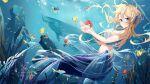 1girl absurdres bangs blonde_hair blue_eyes blush breasts daidai_gege fins fish head_fins highres jewelry long_hair looking_at_viewer medium_breasts mermaid monster_girl navel original seaweed solo sperm_whale underwater water whale