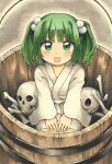 1girl absurdres bangs blush bone bucket eyebrows_visible_through_hair green_eyes green_hair hair_bobbles hair_ornament highres in_bucket in_container japanese_clothes kimono kisume kneeling looking_at_viewer maa_(forsythia1729) short_hair skull touhou traditional_media twintails wide_sleeves wooden_bucket