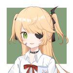 1girl :d alternate_costume bandaid bandaid_on_cheek bandaid_on_face bangs blonde_hair bow bowtie choker collared_shirt commentary_request cup disposable_cup drinking_straw eyebrows_visible_through_hair eyepatch fischl_(genshin_impact) genshin_impact green_eyes hair_bow hair_ornament hair_ribbon highres holding long_hair looking_at_viewer open_mouth ribbon school_uniform shi_zhuzi_da shirt sidelocks simple_background smile solo two-tone_background white_shirt