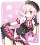 1girl ass_visible_through_thighs breasts commentary_request cowboy_shot eyebrows_visible_through_hair fate/grand_order fate_(series) gloves hair_over_one_eye hat highres looking_at_viewer mash_kyrielight motoi_ayumu necktie short_hair short_sleeves skirt smile solo violet_eyes
