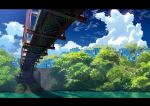 absurdres bridge building clouds commentary_request day highres letterboxed moss no_humans original outdoors scenery shadow sky sumassha_t_t tree