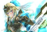 1girl :o absurdres alternate_costume armor armored_dress axe bangs battle_axe blonde_hair blue_dress blue_eyes blue_hair blush breastplate clear_glass_(mildmild1311) commentary_request dress earrings eyebrows_visible_through_hair fire_emblem fire_emblem_heroes fjorm_(fire_emblem) gloves gradient_hair hair_ornament highres holding holding_axe holding_weapon jewelry long_hair long_sleeves looking_at_viewer multicolored_hair official_alternate_costume parted_lips shoulder_armor signature solo tiara twitter_username two-tone_hair upper_body weapon white_background white_gloves