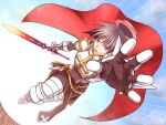 1boy armor armored_boots bangs blue_eyes boots breastplate brown_hair cape chainmail commentary_request cross emphasis_lines expressionless eyebrows_visible_through_hair full_body gauntlets hat holding holding_sword holding_weapon leaf leg_armor looking_at_viewer lord_knight_(ragnarok_online) male_focus mouth_hold open_mouth pauldrons pink_headwear ragnarok_online reaching_out red_cape sakakura_(sariri) short_hair shoulder_armor solo spiked_gauntlets stalk_in_mouth sword tabard weapon