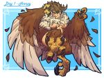 1girl absurdres animal_hands bird_legs bird_tail blue_background breasts brown_feathers brown_wings claws commentary english_commentary facial_mark harpy highres medium_breasts monster_girl neck_ruff orange_eyes original pekyking smile solo tail tail_feathers talons tongue tongue_out twitter_username under_boob white_background winged_arms wings