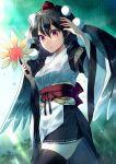1girl arm_up bangs bird_wings black_hair black_legwear black_skirt black_wings blurry blurry_background breasts commentary_request cross-laced_clothes eyebrows_visible_through_hair feathered_wings hair_between_eyes hat hauchiwa highres japanese_clothes kaede_(mmkeyy) kourindou_tengu_costume large_breasts lips long_sleeves looking_at_viewer miniskirt obi obijime open_mouth pointy_ears pom_pom_(clothes) rain ribbon-trimmed_clothes ribbon-trimmed_skirt ribbon_trim sash shameimaru_aya skirt solo thigh-highs tokin_hat touhou water_drop wet wet_clothes wet_face wide_sleeves wings