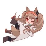 1girl angelina_(arknights) animal_ears arknights black_footwear black_legwear black_shirt brown_hair chibi chinese_commentary coat commentary_request earpiece falling fang fox_ears fox_girl fox_tail full_body infection_monitor_(arknights) long_hair looking_at_viewer lxjun_09 one_eye_closed open_clothes open_coat open_mouth red_eyes shirt simple_background skin_fang solo tail twintails white_background white_coat