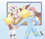 2boys 2girls ahoge akasaka_(qv92612) ash_ketchum bike_shorts blonde_hair blue_jumpsuit bonnie_(pokemon) brother_and_sister brown_shirt clemont_(pokemon) commentary_request flying_sweatdrops jumpsuit korrina_(pokemon) long_sleeves multiple_boys multiple_girls one_side_up outline pokemon pokemon_(anime) pokemon_swsh_(anime) pokemon_xy_(anime) shirt shoes siblings skirt sleeveless sleeveless_shirt white_skirt