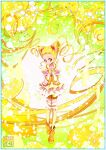 1girl blonde_hair commentary_request cure_lemonade drill_hair drill_locks earrings eyelashes flower gradient gradient_background hair_flower hair_ornament happy highres jewelry kamikita_futago kasugano_urara_(yes!_precure_5) long_hair looking_at_viewer magical_girl precure puffy_short_sleeves puffy_sleeves ribbon shirt short_sleeves smile solo twintails vest yellow_background yellow_eyes yellow_vest yes!_precure_5 yes!_precure_5_gogo!