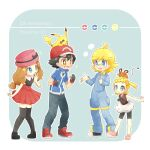 +_+ 2boys 2girls akasaka_(qv92612) ash_ketchum bangs bare_arms baseball_cap bike_shorts black_hair blonde_hair blue_eyes blue_jacket bonnie_(pokemon) bow bright_pupils brother_and_sister brown_eyes brown_shirt clemont_(pokemon) collared_shirt commentary_request dedenne fingerless_gloves glasses gloves grey_eyes hat hat_bow hat_ribbon index_finger_raised jacket jumpsuit multiple_boys multiple_girls on_head pants pigeon-toed pikachu pink_footwear pink_headwear pleated_skirt poke_ball_symbol pokemon pokemon_(anime) pokemon_(creature) pokemon_on_head pokemon_xy_(anime) red_footwear red_headwear red_skirt ribbon serena_(pokemon) shirt shoes short_sleeves siblings skirt sleeveless sleeveless_shirt standing thigh-highs white_pupils white_skirt