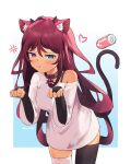 1girl anger_vein animal_ears asymmetrical_legwear bridal_gauntlets can cat_ears cat_tail closed_mouth collar eyebrows_visible_through_hair heterochromia highres hololive irys_(hololive) kemonomimi_mode looking_at_viewer mismatched_legwear namii_(namialus_m) paw_pose shirt soda_can solo t-shirt tail thigh-highs white_shirt