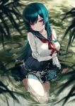 1girl 2980 aqua_hair arm_at_side arm_support arm_under_breasts bangs blurry blurry_foreground blush breasts collarbone full_body highres knee_up leaf long_hair long_sleeves looking_at_viewer medium_breasts neckerchief original parted_lips partially_submerged pink_eyes pleated_skirt red_neckwear school_uniform serafuku sitting skirt sleeve_cuffs solo very_long_hair water_drop wet wet_clothes