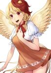 1girl :d animal_on_head bird bird_on_head bird_wings breasts chick clenched_hand dress eyebrows_visible_through_hair feathered_wings hand_on_own_chest highres kaede_(mmkeyy) medium_breasts multicolored_hair niwatari_kutaka on_head open_mouth orange_dress puffy_short_sleeves puffy_sleeves red_eyes red_neckwear red_ribbon redhead ribbon short_hair short_sleeves simple_background smile solo symbol-only_commentary teeth thighs touhou two-tone_hair upper_body upper_teeth white_background wings yellow_eyes
