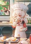 1girl :d antenna_hair apron bangs baron_bunny_(genshin_impact) blonde_hair bread chef chef_hat cooking fish-flavored_toast food genshin_impact hat highres indoors ketchup_bottle kitchen klee_(genshin_impact) knife long_hair long_sleeves mittens one_eye_closed onion open_mouth pointy_ears red_eyes rolling_pin smile solo table tree twintails window zhijianshenshi
