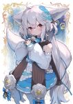 1girl ahoge animal_ear_fluff animal_ears bangs bare_shoulders closed_mouth commentary_request commission detached_sleeves dress ears_down eyebrows_behind_hair feet_out_of_frame flower fox_ears fox_girl fox_tail grey_hair hair_between_eyes hands_up highres large_ears long_hair long_sleeves low_twintails original own_hands_together pantyhose puffy_long_sleeves puffy_sleeves red_eyes sakurada_shiro shindou_kamichi skeb_commission sleeveless sleeveless_dress sleeves_past_wrists solo standing tail tied_hair twintails very_long_hair white_dress white_flower white_hair white_legwear white_sleeves