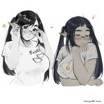 1girl anajudraws artist_name black_hair blush breasts closed_eyes fang food_print glasses highres large_breasts original pointy_ears print_shirt rimless_eyewear shirt simple_background squiggle sweatdrop twintails white_background white_shirt