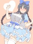 1girl alice_(alice_in_wonderland) alice_(alice_in_wonderland)_(cosplay) alice_in_wonderland apron assault_lily bangs black_hair blue_dress blush bow braid cosplay crying crying_with_eyes_open dress embarrassed frills hair_bow highres open_mouth shirai_yuyu simple_background solo tanin050 tears thigh-highs twin_braids violet_eyes white_legwear zettai_ryouiki