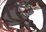 1girl ascot bangs black_bodysuit black_coat black_footwear bodysuit boots breasts coat cowboy_hat eden_grenze grey_hair hat kageshio_(276006) large_breasts looking_at_viewer medium_hair red_eyes red_neckwear silver_(eden) sketch smile solo thigh-highs thigh_boots thighs weapon