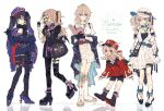 5girls akina422 alternate_costume asymmetrical_legwear asymmetrical_sleeves backpack bag bag_charm baguette barbara_(genshin_impact) belt black_dress black_footwear black_gloves black_hair black_legwear black_shorts boots bow bread brown_scarf casual charm_(object) clover_print contemporary dodoco_(genshin_impact) dress drill_hair earrings eyepatch fischl_(genshin_impact) flower food from_below full_body genshin_impact gloves gothic_lolita green_eyes grey_eyes hair_bow hair_ornament hair_ribbon hat hat_bow hat_flower hat_ornament hat_ribbon height_difference jacket jean_(genshin_impact) jewelry klee_(genshin_impact) knee_boots kneehighs light_brown_hair lolita_fashion mismatched_legwear mismatched_sleeves mona_(genshin_impact) multiple_girls necklace pantyhose pointy_ears red_eyes red_jacket ribbon scarf shopping_bag shorts shoulder_bag standing sun_hat twin_drills two_side_up violet_eyes white_background white_dress white_legwear