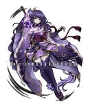 1girl bangs braid breasts criis-chan drawing_sword english_commentary genshin_impact hair_ornament holding holding_sword holding_weapon japanese_clothes komatsuzaki_rui_(style) large_breasts long_hair long_sleeves looking_at_viewer parody purple_hair raiden_shogun shoes simple_background solo style_parody sword thigh-highs twitter_username violet_eyes weapon white_background