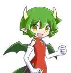 1girl china_dress chinese_clothes draco_centauros dragon_girl dragon_horns dragon_tail dragon_wings dress elbow_gloves eyebrows_visible_through_hair fang gloves green_hair horns looking_at_viewer open_mouth pointy_ears puyopuyo red_dress short_hair smile solo tail takazaki_piko white_gloves wings yellow_eyes