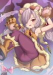 1girl animal_ears animal_hands armpits arms_up ass bangs blush boots bow brown_footwear brown_gloves claws commentary_request dress fang gloves granblue_fantasy hair_ornament hair_over_one_eye hair_ribbon halloween harvin highres jack-o'-lantern jack-o'-lantern_hair_ornament lion_ears lion_tail long_hair looking_at_viewer low_twintails niyon_(granblue_fantasy) open_mouth panties panties_under_pantyhose pantyhose pantylines paw_gloves pink_bow pointy_ears purple_hair purple_legwear purple_ribbon ribbon sleeveless sleeveless_dress solo striped striped_ribbon tail tail_bow tail_ornament thighs twintails underwear uneg violet_eyes