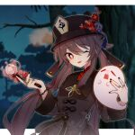 +_+ 1girl :p bangs black_headwear blurry blurry_background branch brown_hair chinese_clothes flower genshin_impact ghost hair_between_eyes hat holding holding_flower hu_tao_(genshin_impact) jewelry long_hair long_sleeves looking_at_viewer night night_sky one_eye_closed outdoors red_eyes red_flower ring sasorin sky solo tongue tongue_out tree twintails