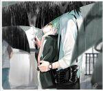 1boy 1girl 2021 absurdres bag black_hair black_jacket black_pants black_shirt black_umbrella c.c. code_geass couple dated from_side green_hair handbag highres holding holding_umbrella jacket jacket_on_shoulders lelouch_lamperouge looking_back noppo outdoors pants parted_lips rain shirt short_hair signature striped striped_shirt umbrella watch watch wet wet_hair white_shirt yellow_eyes