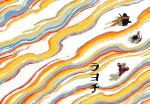 1girl 2boys absurdres ainu ainu_clothes asirpa bandana black_hair blue_bandana bow_(weapon) chengongzi123 floating_hair from_above golden_kamuy grey_hair gun hat highres holding holding_gun holding_weapon military military_hat military_uniform multiple_boys purple_vest rainbow shiraishi_yoshitake sugimoto_saichi uniform vest weapon