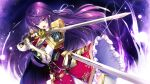 1girl armor armored_boots bangs black_gloves blue_cape boots breastplate cape eyebrows_visible_through_hair faulds fingerless_gloves floating_hair frilled_skirt frills game_cg gloves green_eyes hair_ribbon highres holding holding_sword holding_weapon long_hair looking_at_viewer official_art open_mouth purple_background purple_hair red_skirt ribbon secret_agent_~kishi_gakuen_no_shinobi_naru_mono~ sheath shiny shiny_hair shirogane_kagura shoulder_armor skirt solo standing sword thigh-highs thigh_boots underbust very_long_hair weapon white_footwear white_ribbon