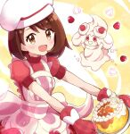 1girl :d alcremie alcremie_(strawberry_sweet) apron bangs blush brown_eyes brown_hair cake cosplay cream dawn_(pokemon) dawn_(pokemon)_(cosplay) dress eyebrows_visible_through_hair food frilled_apron frills fruit gloria_(pokemon) haru_(haruxxe) highres holding holding_plate looking_at_viewer medium_hair open_mouth oven_mitts pink_apron pink_dress plate pokemon pokemon_(game) pokemon_masters_ex puffy_short_sleeves puffy_sleeves short_sleeves smile strawberry swept_bangs white_headwear