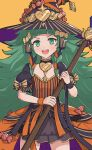 1girl bangs black_dress black_hair blunt_bangs braid broom candy commentary cowboy_shot dress fire_emblem fire_emblem:_three_houses fire_emblem_heroes flat_chest food gonzarez green_eyes green_hair halloween_costume hat highres long_hair looking_at_viewer multicolored_hair official_alternate_costume open_mouth orange_hair pointy_ears puffy_short_sleeves puffy_sleeves short_sleeves simple_background smile solo sothis_(fire_emblem) striped twin_braids very_long_hair witch_hat wristband yellow_background