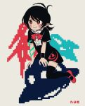 1girl asymmetrical_wings black_dress black_hair black_legwear blue_wings blush bow bowtie buttons center_frills dress frilled_dress frills houjuu_nue mary_janes pixelated pointy_ears red_bow red_eyes red_footwear red_neckwear red_wings shoes short_dress short_hair short_sleeves simple_background smile snake thigh-highs touhou ufo white_background wings wristband you_taira