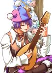 1boy :3 angel_wings angeling baggy_pants bangs blue_headwear boots brown_footwear brown_pants brown_vest clown_(ragnarok_online) collared_shirt commentary_request deviling eyebrows_visible_through_hair foot_out_of_frame ghostring hair_between_eyes halo hat holding holding_instrument instrument jester_cap looking_down lute_(instrument) male_focus marin_(ragnarok_online) metaling multicolored multicolored_clothes multicolored_headwear music open_mouth pants pink_headwear playing_instrument poporing poring purple_hair ragnarok_online sakakura_(sariri) shirt short_hair slime_(creature) solo_focus tree vest violet_eyes white_shirt wings yellow_headwear