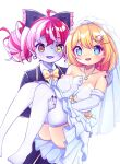 2girls :d ahoge ass aya_chan1221 bangs bare_shoulders black_suit blonde_hair blue_eyes bow bowtie bridal_veil carrying carrying_person collarbone collared_shirt commentary dress earrings elbow_gloves english_commentary eyebrows_visible_through_hair frilled_dress frills gloves hair_between_eyes hair_bow hair_ornament hair_ribbon heart heart_necklace heterochromia highres hololive hololive_english hololive_indonesia jewelry kureiji_ollie long_hair long_sleeves looking_at_viewer multicolored_hair multiple_girls open_mouth pale_skin patchwork_skin princess_carry redhead ribbon ring shirt short_hair sidelocks simple_background smile strapless strapless_dress symbol-shaped_pupils thigh-highs two-tone_hair veil virtual_youtuber watson_amelia wedding_band wedding_dress white_background white_dress white_gloves white_legwear zombie