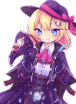 1girl arm_guards ascot aya_chan1221 bangs belt bird_mask black_coat black_gloves blonde_hair blue_eyes bow c: coat commentary english_commentary eyebrows_visible_through_hair gloves hair_between_eyes hair_ornament hat hat_bow hat_ribbon highres holding holding_syringe hololive hololive_english looking_at_viewer mask plaid plaid_skirt pocket_watch ribbon short_hair sidelocks simple_background skirt smile solo syringe virtual_youtuber watch watson_amelia