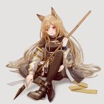 1girl :q absurdres animal_ears arknights black_footwear black_shorts boots brown_hair ceobe_(arknights) cross-laced_footwear dog_ears dog_girl grey_background highres holding holding_polearm holding_weapon jacket lace-up_boots licking_lips long_hair long_sleeves looking_at_viewer miike_(992058) multicolored multicolored_clothes multicolored_jacket polearm red_eyes shoes short_shorts shorts simple_background sitting smile solo spear thigh-highs thigh_boots tongue tongue_out weapon