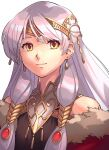 1girl a_(user_vtsy8742) bare_shoulders black_dress circlet coat dress earrings fire_emblem fire_emblem:_radiant_dawn fire_emblem_cipher fire_emblem_heroes highres jewelry long_hair looking_at_viewer micaiah_(fire_emblem) portrait silver_hair simple_background sleeveless sleeveless_dress smile solo upper_body white_background yellow_eyes