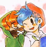 2boys alternate_universe blue_hair boyfriend_(friday_night_funkin') friday_night_funkin' hat hoodie maruho473 orange_hair pico_(pico's_school) simple_background smile traditional_media wink