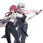 2girls back-to-back black_eyepatch black_neckwear black_pants black_tank_top blood blood_on_face blood_on_weapon braid braided_ponytail breasts brown_hair business_suit chainsaw_man cigarette expressionless eyebrows_visible_through_hair eyepatch formal hand_gesture highres holding holding_sword holding_weapon long_hair looking_at_viewer makima_(chainsaw_man) medium_breasts multiple_girls muscular muscular_female necktie office_lady oyo_hitsuji pants ponytail quanxi_(chainsaw_man) ringed_eyes shirt shirt_tucked_in sleeveless sleeveless_shirt smoking suit sword tank_top weapon white_hair white_shirt yellow_eyes