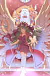 1girl 2others alpaca androgynous angel angel_wings bangs breasts brown_dress cherub coat commentary_request dress eyebrows_visible_through_hair feathered_wings feet_out_of_frame firealpaca fur-trimmed_coat fur_trim green_hair halo holding holding_staff long_hair looking_at_viewer medium_breasts multiple_others open_mouth original pointy_ears reaching_out red_coat sakakura_(sariri) smile staff stained_glass white_wings wings