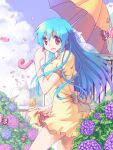 1girl :d artweaver_(medium) bangs blue_hair blue_sky bow breasts brown_bow candy cat clouds commentary_request cowboy_shot dress eyebrows_visible_through_hair flower food frilled_dress frills hair_bow highres holding holding_umbrella hydrangea long_hair looking_at_viewer medium_breasts open_mouth original pink_flower puffy_short_sleeves puffy_sleeves purple_flower rain red_eyes sakakura_(sariri) short_sleeves sky smile solo umbrella white_bow wrapped_candy yellow_dress