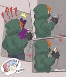 !? 2boys alternate_universe blue_hair boyfriend_(friday_night_funkin') comic english_text failure friday_night_funkin' green_hoodie holding hoodie orange_hair pico_(pico's_school) pomu178 spray_can spray_paint surprise